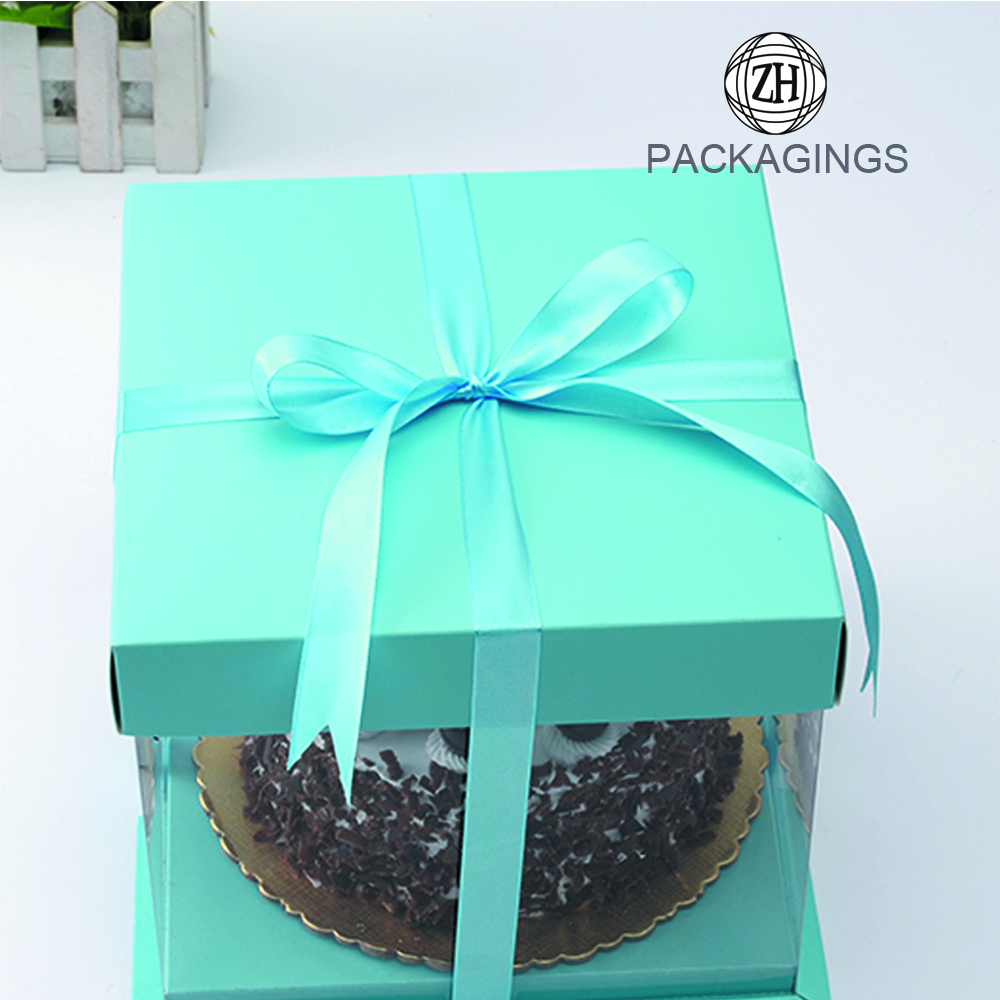 Sky Blue PVC Transparent Cake Packaging Box