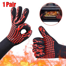 1pair Barbecue Gloves BBQ Gloves Kitchen Oven Mitts Baking Glove Extreme Heat Resistant Multi-Purpose Grilling Cook Gloves #LR1