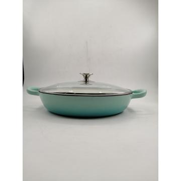 Cast Iron Enamel Casserole with Glass Lid