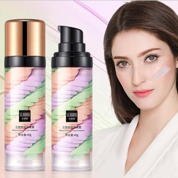 3 in 1 Concealer Base Primer Rainbow Tricolor Full Cover Makeup Liquid Invisible Pore Concealer Facial Moisturizing Cosmetics
