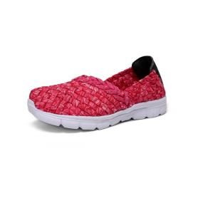 Rose Red Flexible Woven Elastic Upper Child Pumps