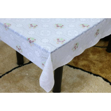 Printed oval pvc lace tablecloth by roll