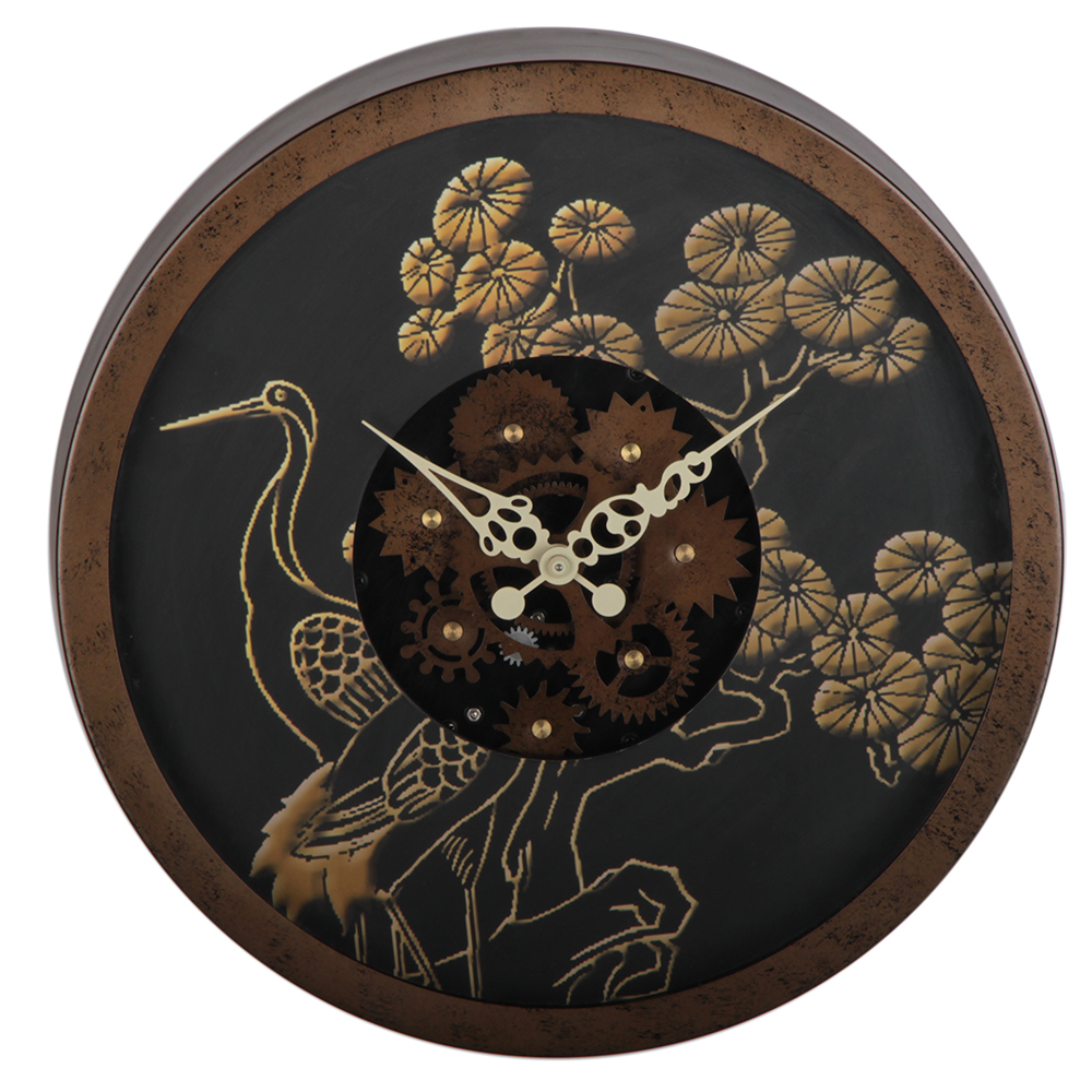 14 Inches Rustic Bird-pattern Gear Wall Clock