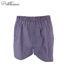 Woven mens cotton boxer shorts with button fly