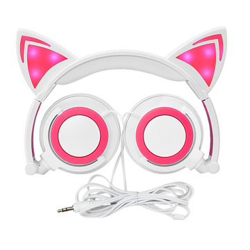 Cartoon Kids LED illumina le cuffie con orecchio di gatto