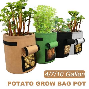 Vegetable Seeds Planting Bag Potato Growing Bag 4/7/10 Gallon Non-woven Fabrics Planter Pouch Planting Grow Bag Gardening tool