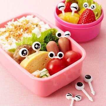 10PCS/Set Cute Plastic Fruit Toothpick Lovely Eye Cartoon Forks Bento Decorative Tableware Food Picks Fish Fork Dessert New
