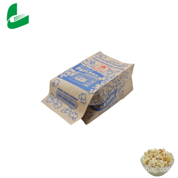 Brown kraft greaseproof microwave popcorn paper bag