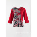 Ladies cotton printing T shirt 3/4 sleeve