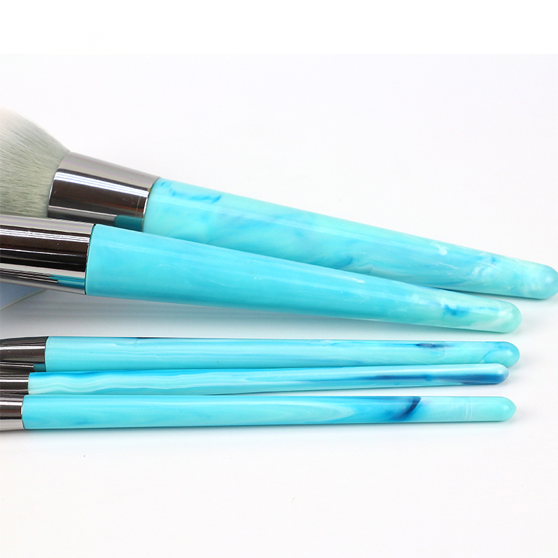 Blue Simulated Marble Handle Makeup Brushes