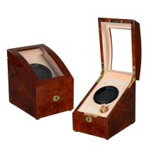 Coffe Wood Watch Winder With Cream Velvet
