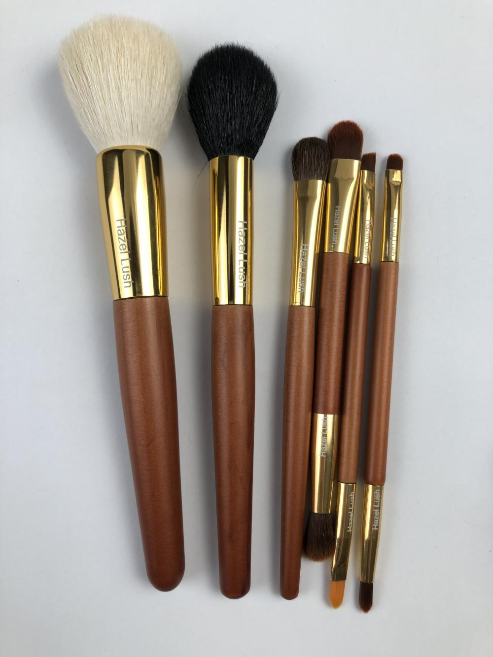 6 Pc Wooden Makeup Brush Set For Hazel Lush