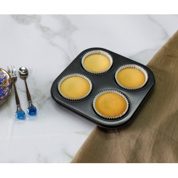 Non-stick bakeware carbon steel 4 cup muffin pan