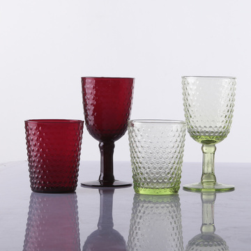 Hand Made Glass Cup High Ball Glass Beaded Goblet Colored Water Glasses