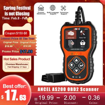 ANCEL AS200 OBD2 Scanner Live Data OBD 2 Code Reader Multi-language Car Scanner For Engine Check Car Diagnostics