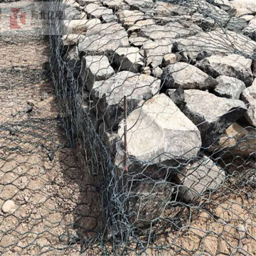 River flood control stone filled gabions