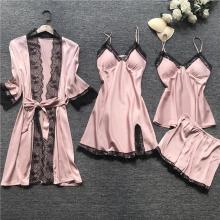 WENYUJH Women Pajamas Set Satin Sleepwear Silk 4 Pieces Nightwear Pyjama Spaghetti Strap Lace Sleep Lounge Pijama With Chest Pad