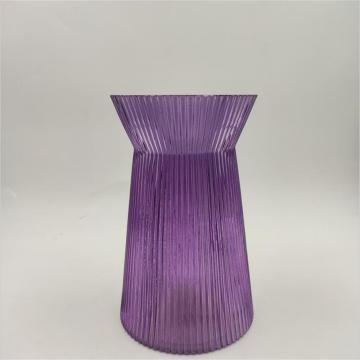 Purple Ribbed Glass Crystal Vase