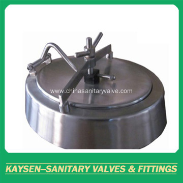 Sanitary oval inward manway with bevel edge