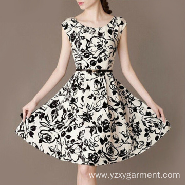 Cotton black and white patterned dress