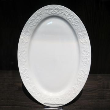 Embossed White Porcelain Dinnerware