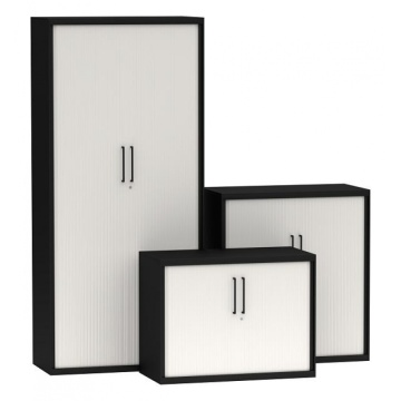 Black and white tambour door cupboard cabinet