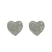 Silver Heart stud Earrings with Cubic Zirconia