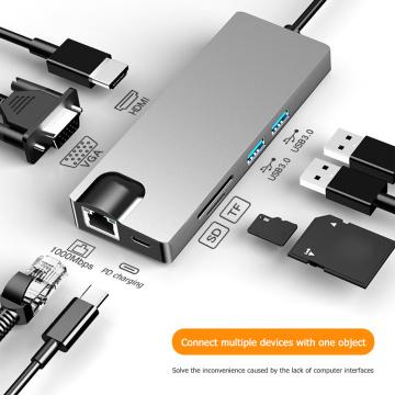 8 in 1 USB C Hub Type C to Multi 2 USB 3.0 4K HDMI VGA Gigabit RJ45 TF Card Reader PD Charging Adapter Splitter for PC Labtop