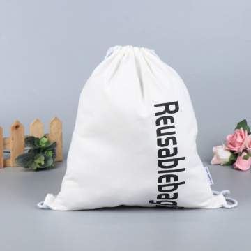 Custom Canvas Cotton Recyclable Cloth Drawstring Bag