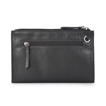 Glossy Black Patent Leather Clutch Purse With Rivets
