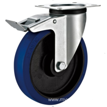 100mm  industrial rubber rigid   casters with  brakes