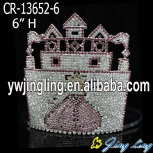 Special Pink Rhinestone Castle Princess Pageant Crown