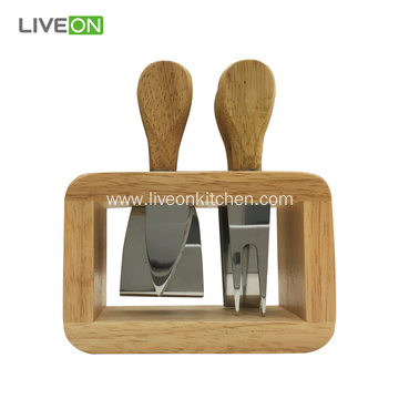 Cheese Knife Set In Wood Block