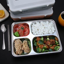 18/8 stainless steel food container with spoon chopsticks