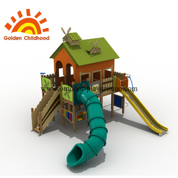 Playhouse Slide Commercial Outdoor Playground Equipment For Sale