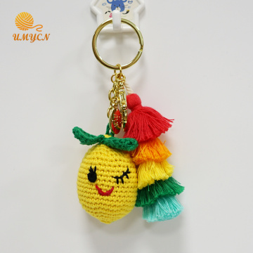 Handmade Crochet Lemon Key Chain Accessories