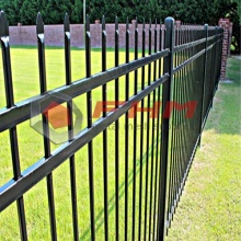Black Decorative Security Steel Picket Palisade Fence