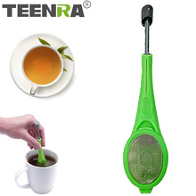TEENRA Tea Infuser Built-in Plunger Plastic Tea Bag For Teapot Tea Strainer Filter Reusable Drinking Tools