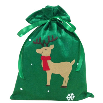 Green christmas reindeer pattern sack