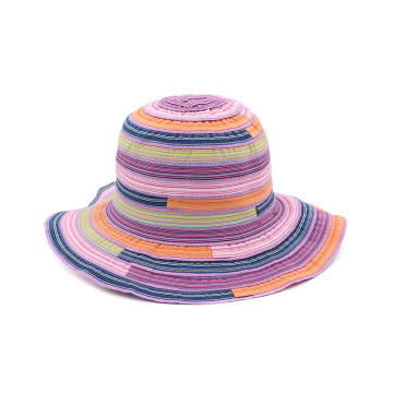 Multicolor splicing fedora outing rainbow bucket hat