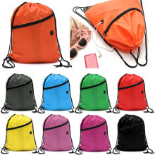 Nylon drawstring shoulder pouches gym and sports