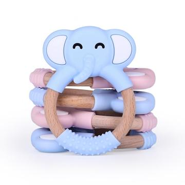 Hot Selling Silicone Wooden Baby Teether