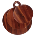 Round acacia wood cutting board set