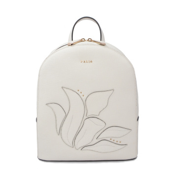 Emboss wear-resistant stylish genuine women leather backpack