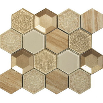 3D effect hexagon glass mosaic