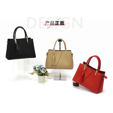 Black Leather Tote Shoulder Bag with Zipping