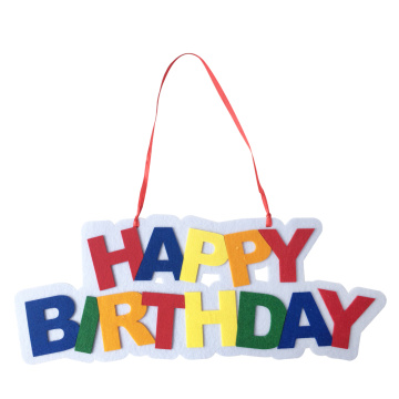 Happy birthday wall sign and hanging decorations