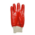 Red PVC coated gloves smooth finish