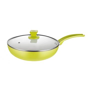 Ceramic Coating Aluminum Non-stick Wok With Lid