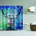 Deer Flower Waterproof Shower Curtain Blue Bathroom Decor